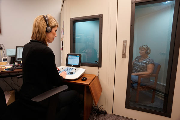 Hearing test being performed at Midwest ENT Centre